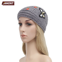 [JAMONT] Women Warm Headbands Knitting Hairbands Stretch Knitted Headwear Crochet Bow Elegant Turban Hair Accessories Q3330