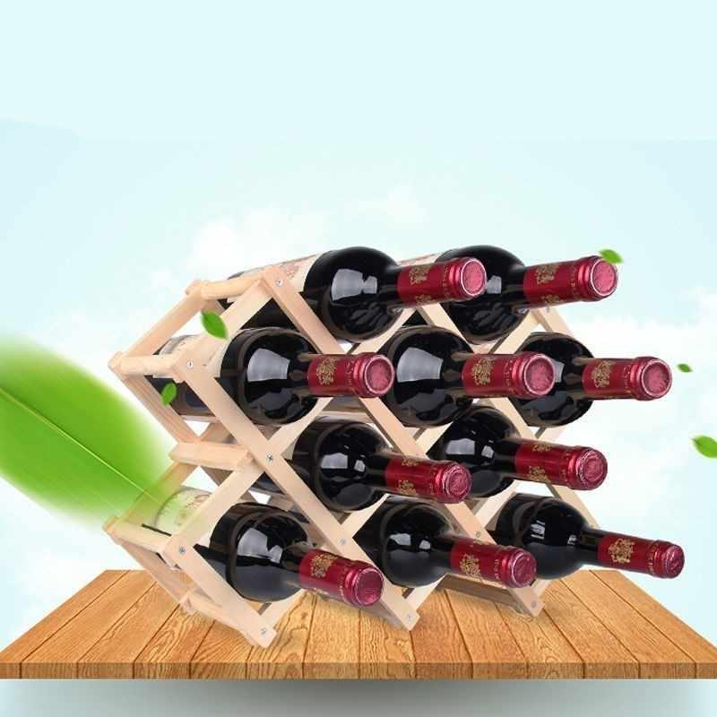 Plegable de madera de rojo vino cerveza ajustable hogar vino pantalla Marco de Bar de cocina cerveza de vino estante de exhibición de la decoración del hogar