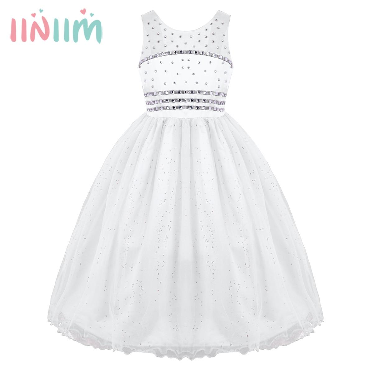 Teen Kids Princess Dresses Mesh Wide Shoulder Straps Glittery Rhinestone Flower Girl Dress Pageant Wedding Birthday Party Dress недорго, оригинальная цена