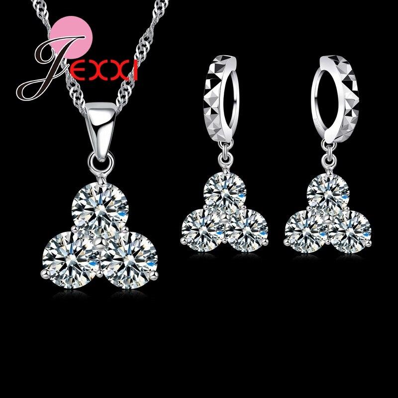 Diplomatisch Heißer Luxus 925 Sterling Silber Halskette Ohrringe Schmuck Sets Klar Cz Kristall Strass Frauen Schmuck Sets