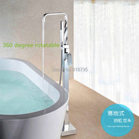 Free shipping brass chrome plating floor stand faucet,bathtub mixer, floor stand bathtub faucet, bathroom tap 61082 1590