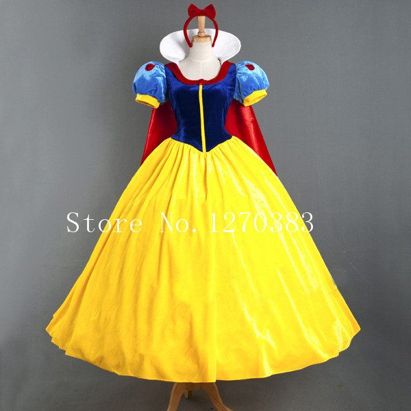 Free Shipping Custom Made Women Adult Halloween Cartoon Princess Snow White Costume For Sale Snow White cosplay costume