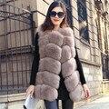 Falso Colete Bolsos Venda Quente Longo Casaco de Malha Fina Plus Size Smlxl23xl 2016 de Moda de Nova Inverno Quente Imitação Raposa Nobres 8 Cores