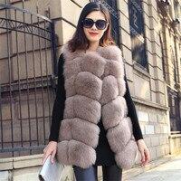 Faux Fox Fur Vest Hot Sale Pockets Long Slim Coat Plus Size SMLXL234XL 2017 Fashion New Winter Warm Imitation Fox Noble 8 Colors