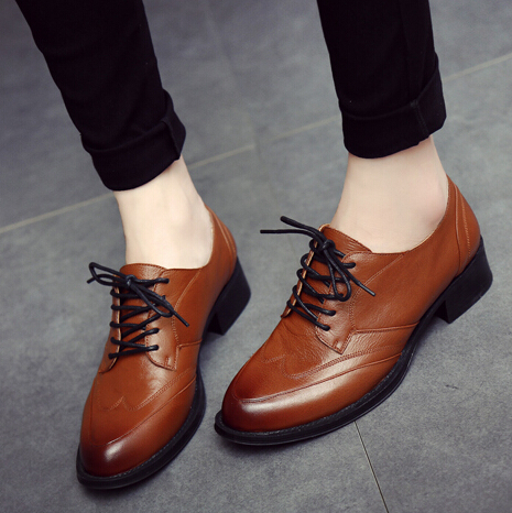 Euro Size 35~40 Spring/Autumn Office&career 100% Genuine leather Oxford Shoes For Women New 2016 Fashion Women Flat Shoe