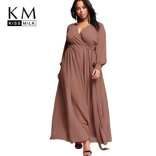 Plus Size Spring Western Style Fashion Loose V Neck Lace Up Long