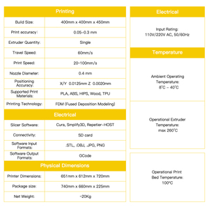 Image 5 - Imprimante 3D anycubique anycubique Chiron 400*400*450mm Plus grande taille dimpression 2019 imprimante 3D Kits de bricolage dimpression FDM TFT impresora 3d