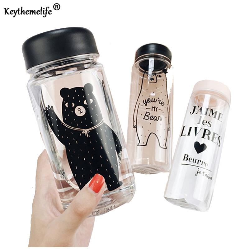 Plastmasas pudeles 500ml / 350ml ūdens pudeles caurspīdīgai karikatūras noplūdes ceļošanai sporta āra ūdens pudelē B