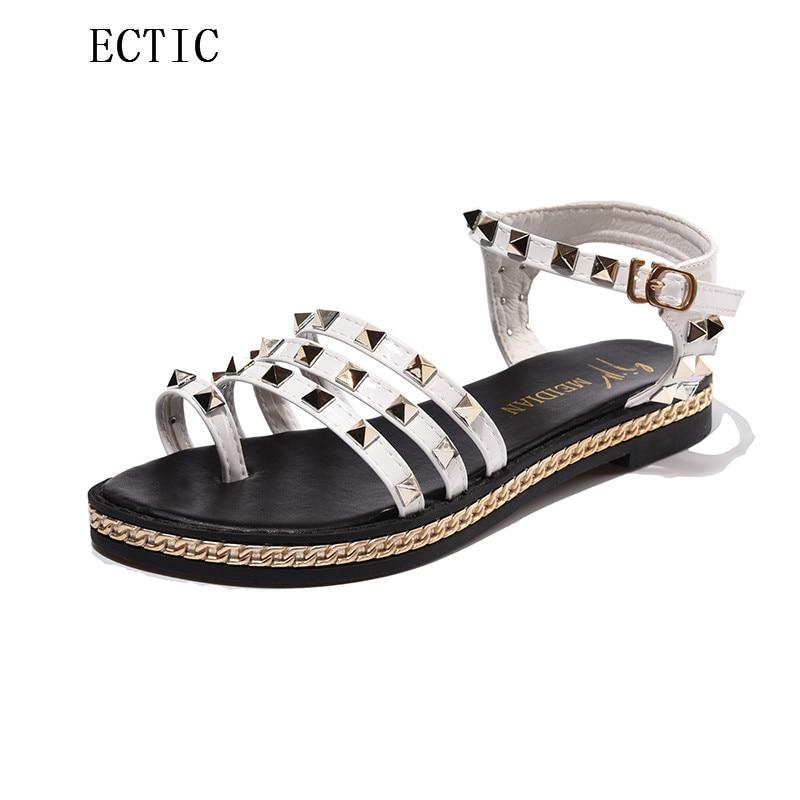 2017 WOman Summer Beach T tied 3 Straps Rivets Flat Heel Sandals Girl Female Thong Flip Flops Women Rome Punk Shoes white Black