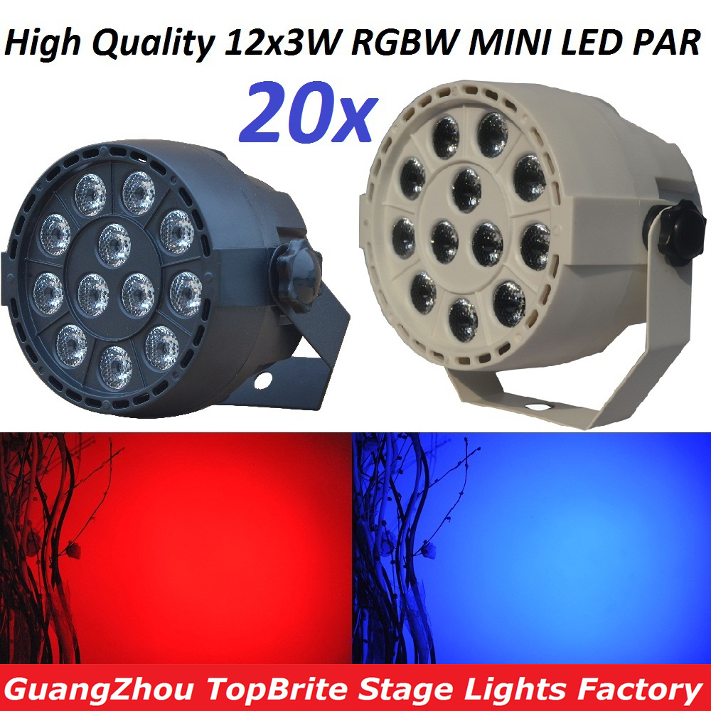 20xLot 2016 12x3W RGBW DMX Stage Lights Business Lamps Led Flat Par Can High Power Lighting Professional Home Party KTV Disco DJ