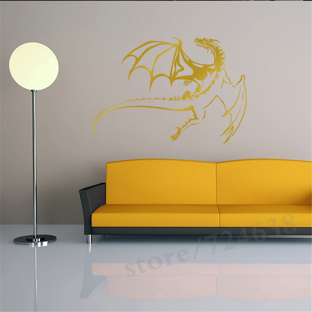 West Dragon Wall Sticker Art Wall Background Decoration Vinyl ...