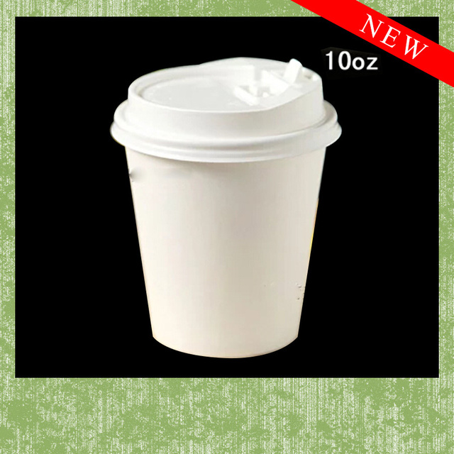 10oz Disposable Coffee White Without Printing Paper Cup With Lid