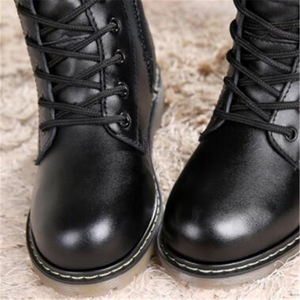 Image 4 - Autumn Children Mid Calf Motorcycle boots Genuine Leather Winter Girl Boy Snow boots Slip resistant Military boots Kids shoes 3B
