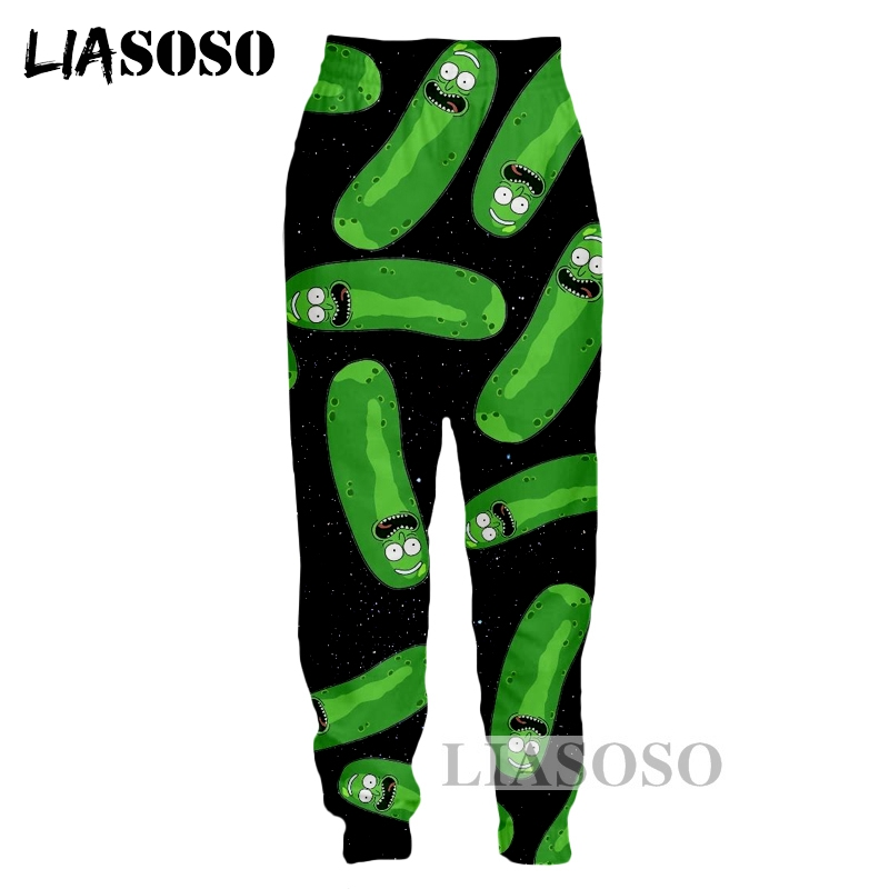 LIASOSO NEW Harajuku Cartoon Rick And Morty 3D Print Pants Unisex Good Quality Funny Space Many Pickled Cucumber Pant Tops G485