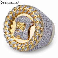 Mens Gold Jesus Head Ring Luxury Cubic Zirconia Fully Iced Out Band Mirco Pave Hip hop CZ Bling Jesus Copper Finger Rings