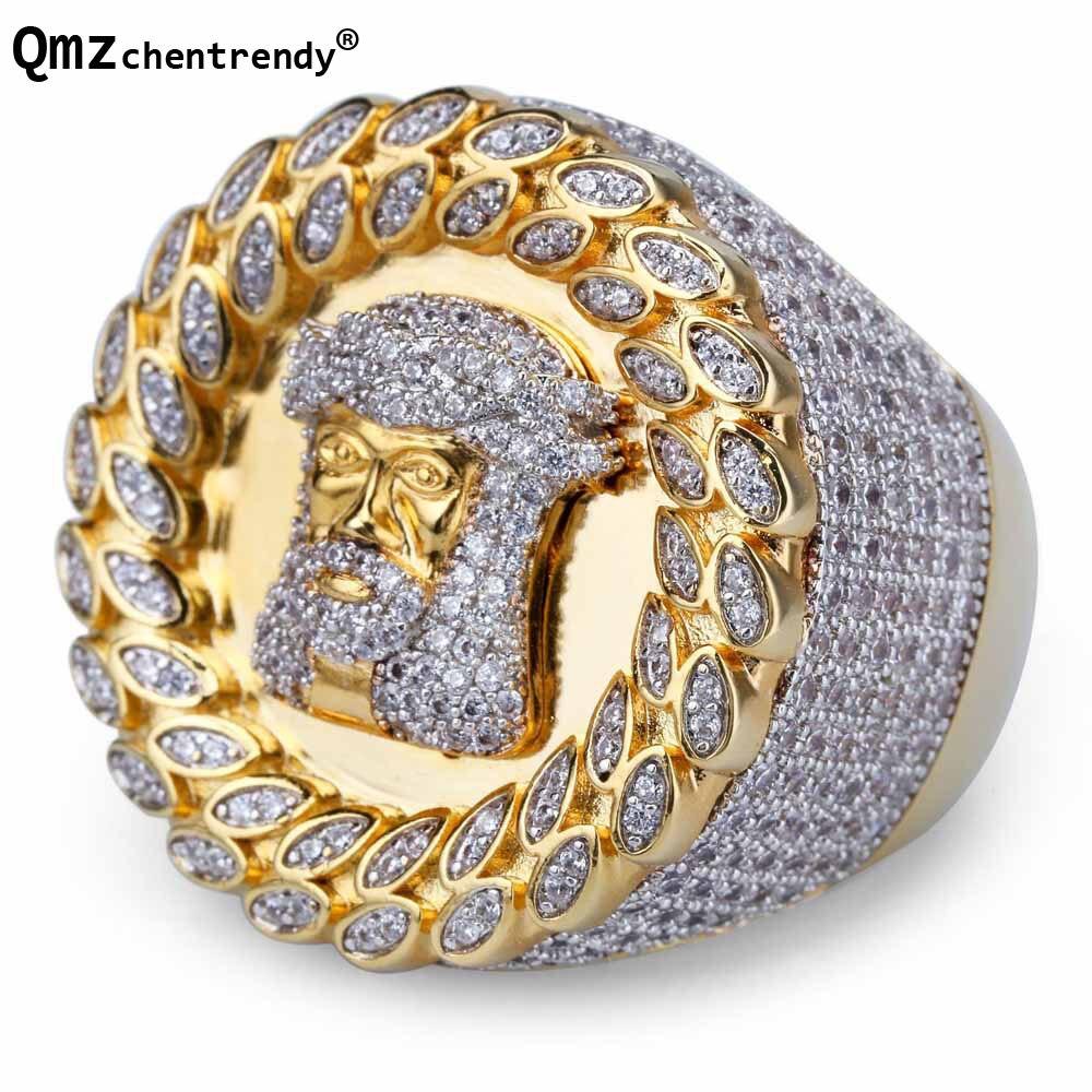 Bague homme tête de jésus en or zircon cubique de luxe entièrement glacé bande Mirco Pave Hip hop CZ Bling jésus bagues en cuivre