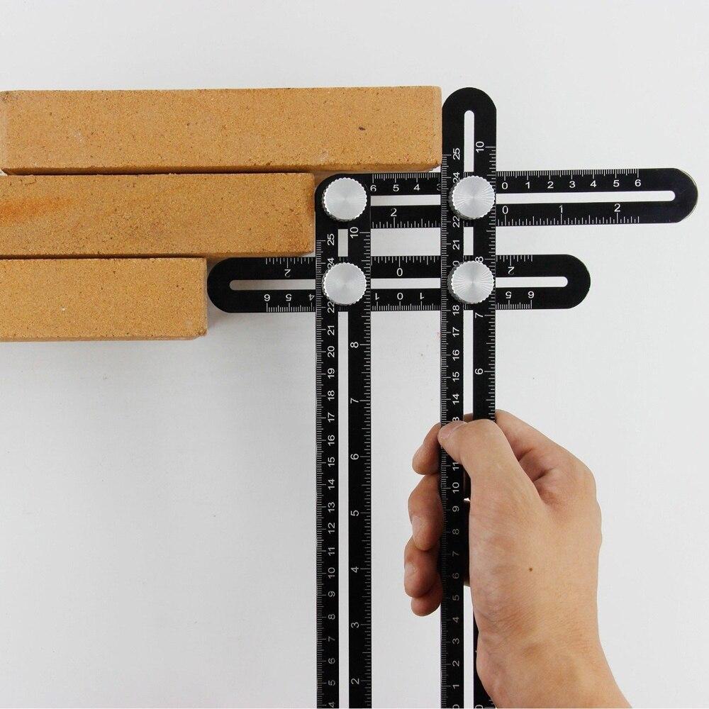 Multi ángulo Regla de medición plantilla herramienta gobernante actualizado de aleación de aluminio de Multi función de cuatro de la regla (negro)