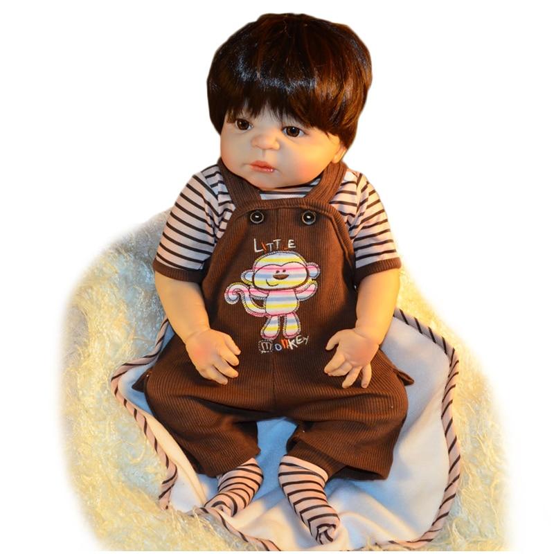 58 см/23 дюйма 100% силиконовые куклы реалистичные Новорожденные маленькие обезьяны мальчик кукла живой ребенок коричневые волосы