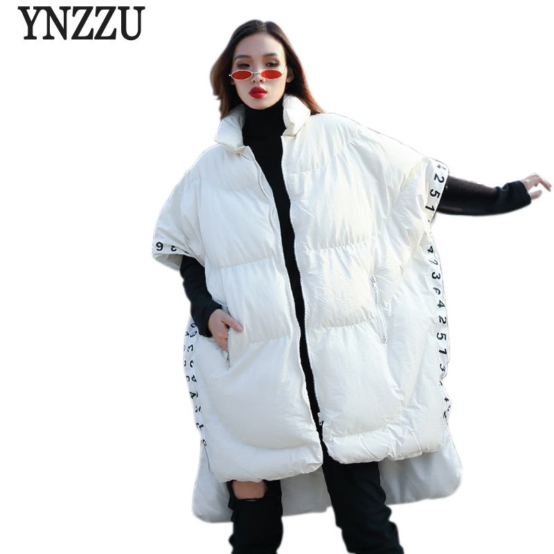 e9e630ff77ef3 Design Long Chic Noir Noir Blanc Outwears Femmes blanc Ynzzu Style  Rembourré Irrégulière Parka D'hiver Manteau Yo695 Femelle Nouveau 2018 ...