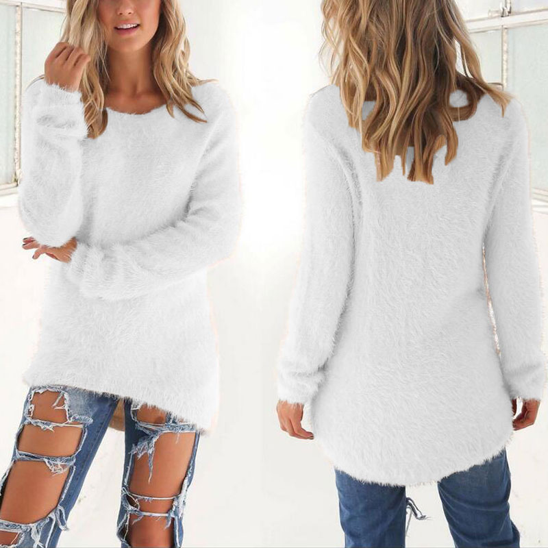 10 Color Spring Autumn Sweater Women Loose Long Sleeve Solid Warm Pullovers Tops Size 3XL TS95