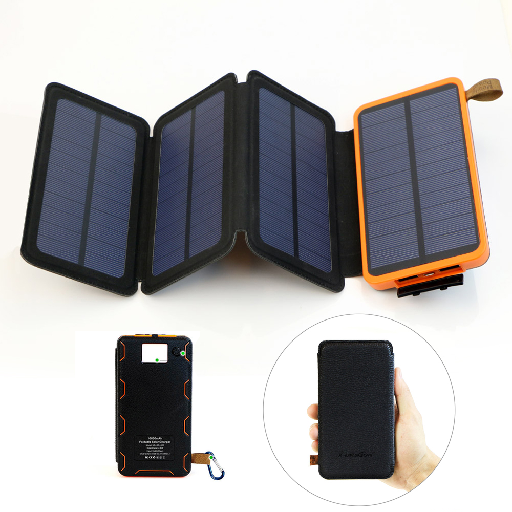 Power Bank Solar Powered Foldable Portable Solar Powerbank Waterproof Dual USB Output with High Lumen Flashlight.
