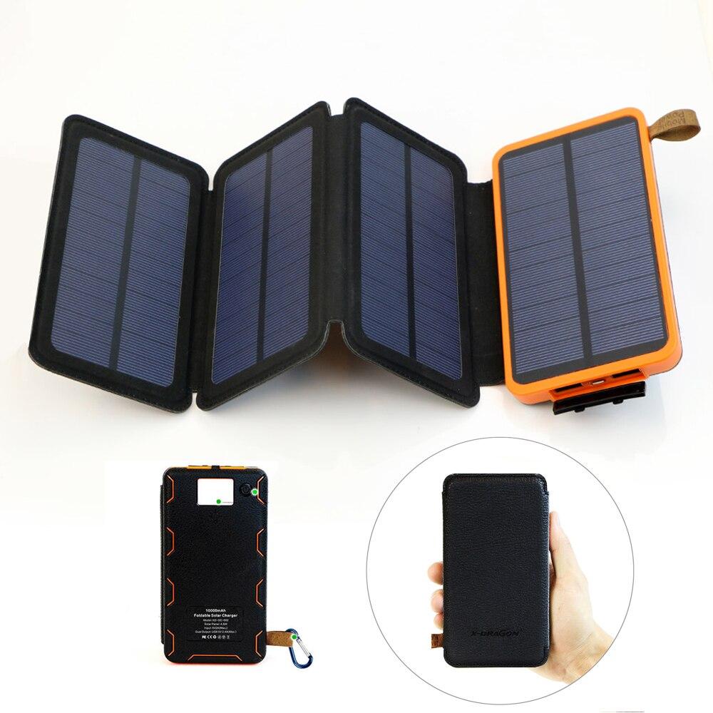 Powerbank Banco de potência Movido A Energia Solar Dobrável Solar Portátil À Prova D' Água Dupla Saída USB com Alta Lúmen Lanterna.