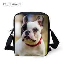ELVISWORDS Fashion Women Messenger Bags Bulldogs Prints Pattern Shoulder Cute Animal Girls Flaps Handbags Kids Mini Mochila