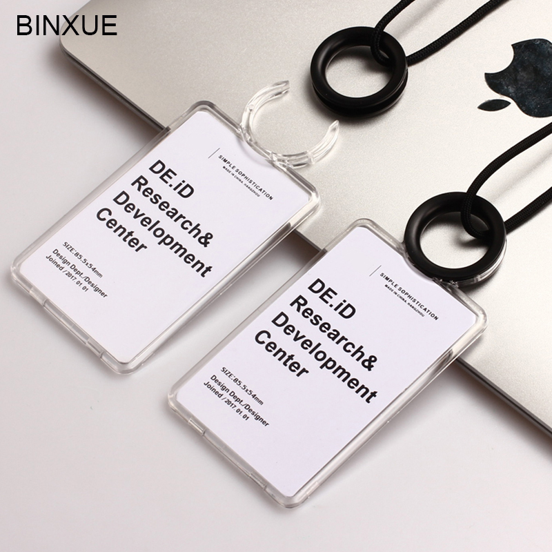BINXUE High-grade Cover card Double view Card & ID Holders badge transparent and Induction card Access control