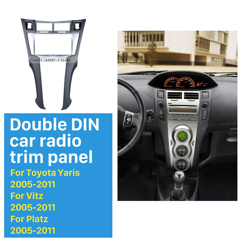 Seicane Silver Double Din Car Radio Fascia for 2005-2011 Toyota Yaris Vitz Platz CD Trim Installation Trim Bezel Audio frame