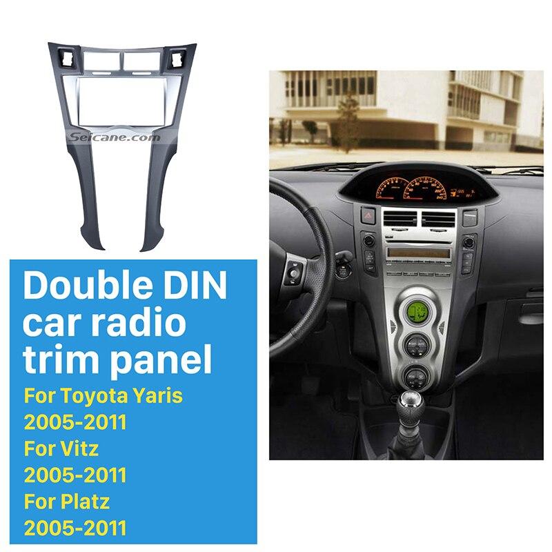 Seicane Silver Double Din Car Radio Fascia for 2005 2011 Toyota Yaris Vitz Platz CD Trim Installation Trim Bezel Audio frame