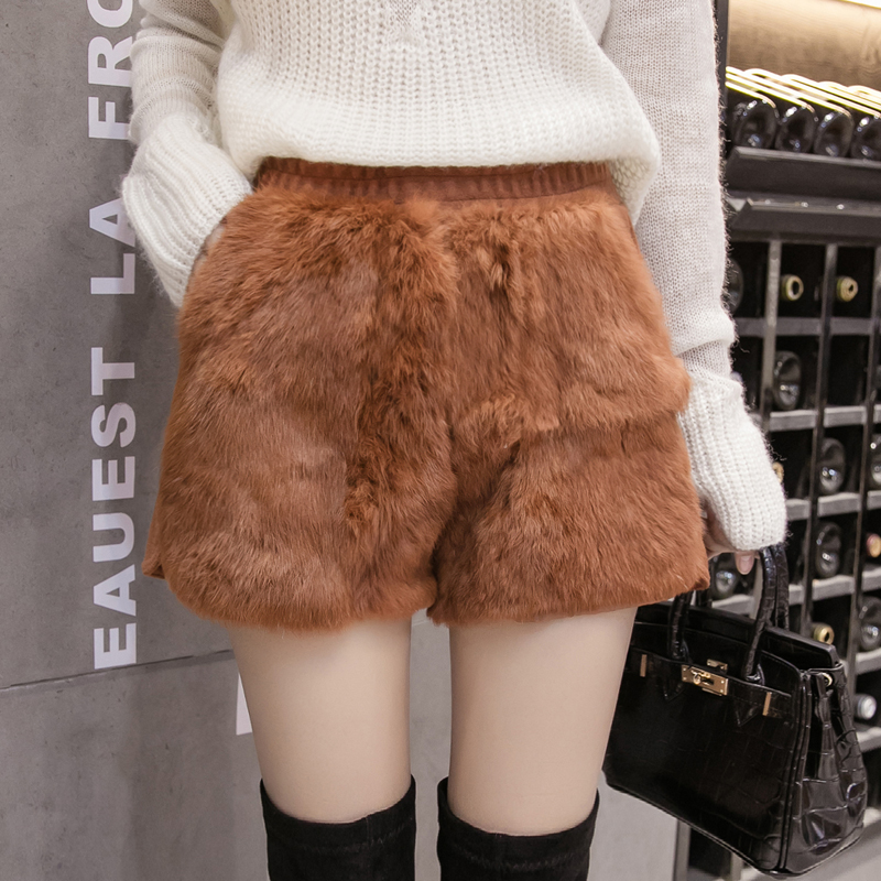 MUMUZI natural rabbit fur women shorts slim high waist back wool short trousers high street fashion thick warm shorts 2018 new