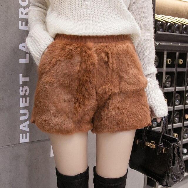 MUMUZI natural rabbit fur women shorts slim high waist back wool short trousers high street fashion thick warm shorts 2018 new
