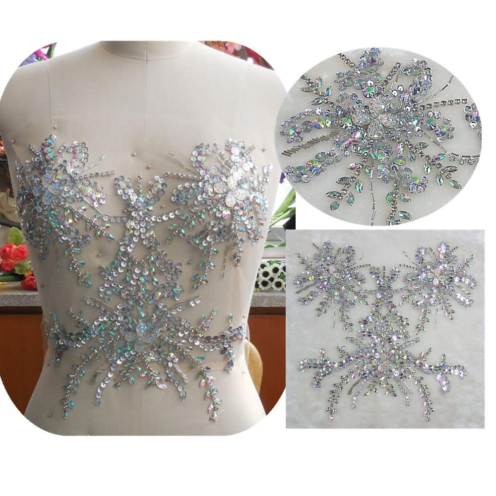 bi.Dw.M Creative Hand Beaded Rhinestone Applique Patch Strass Trim 34*34cm For Sew-on Accessories Bridal Wedding Dress clothes