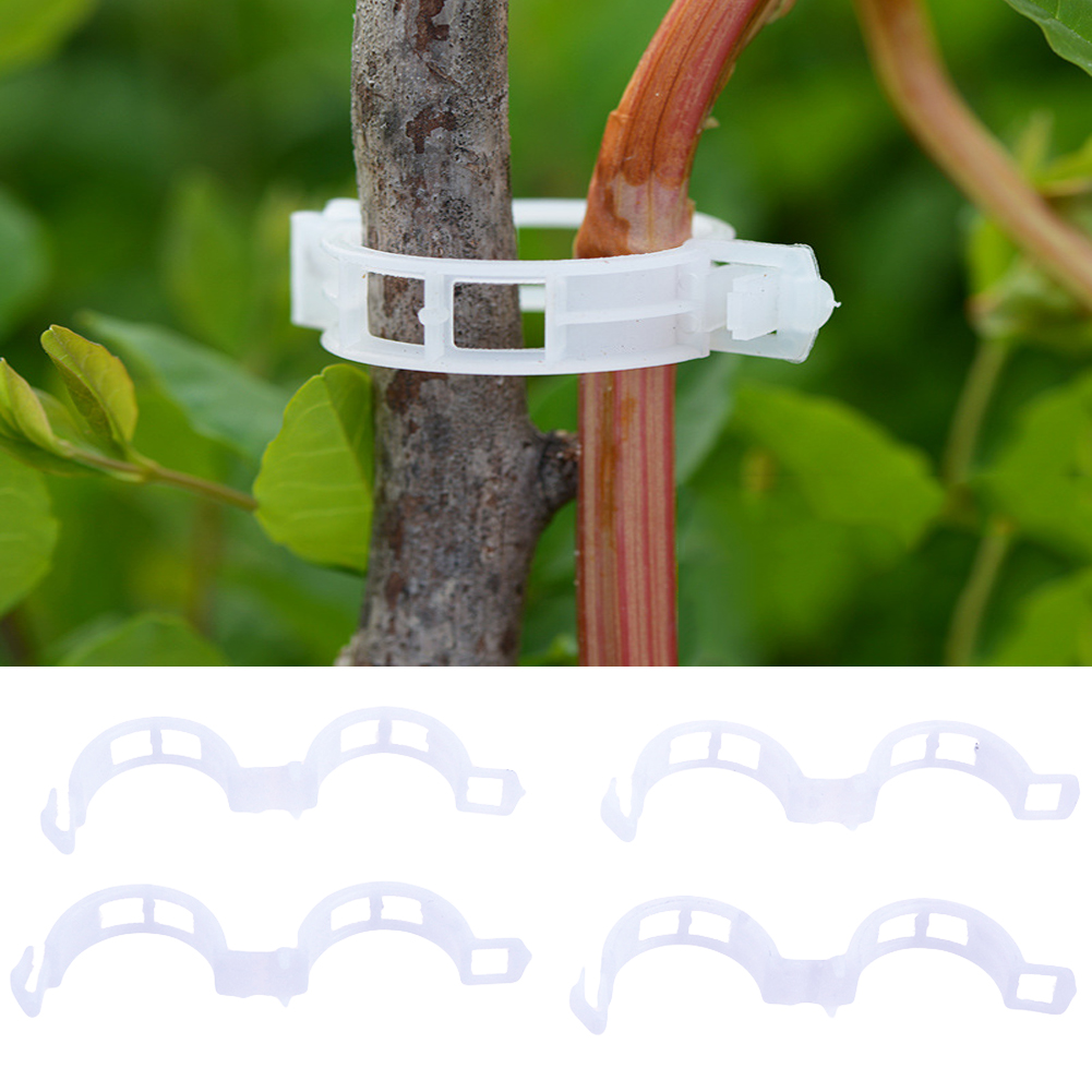 100pcs Durable 25mm Plastic Plant Support Clips For Types Plants Hanging Vine Garden Greenhouse Vegetables Garden Ornament