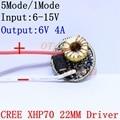 Cree XLamp XHP70 6V LED Driver 22MM DC6V-15V 1mode/5mode Input 6-15V Output For 6V XHP70 LED Light Lamp