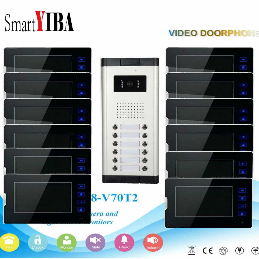 SmartYIBA высокое Разрешение 7 дюймов TFT ЖК дисплей видеодомофон Домофонные дверной звонок 12 единиц визуального мониторинга 1000TVL Водонепроницае