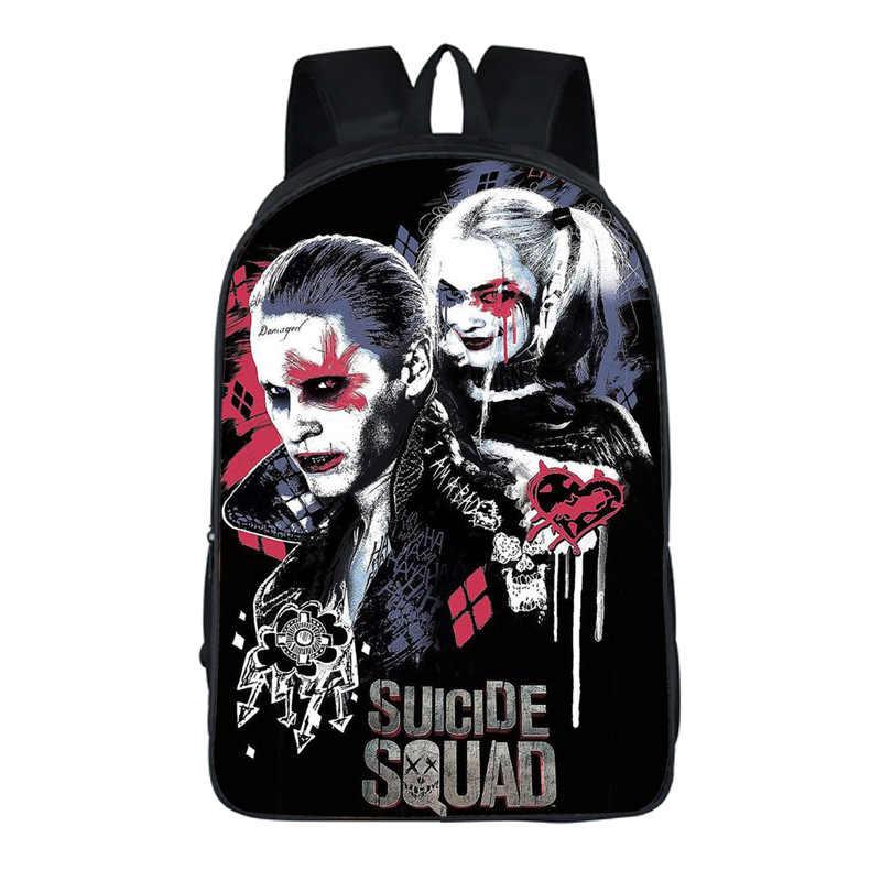 Esquadrão suicida Harley Quinn Coringa mulheres Mochila Crianças Mochilas Escolares Mochilas escolares Para Adolescente Meninas Viagem Bolsas de Ombro