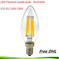DHL 50X 4W 6W 9W E14 E12 220V 110V dimmable C35 LED Filament Candle Bulbs lamp light warm/cold white Chandelier crystal lamp