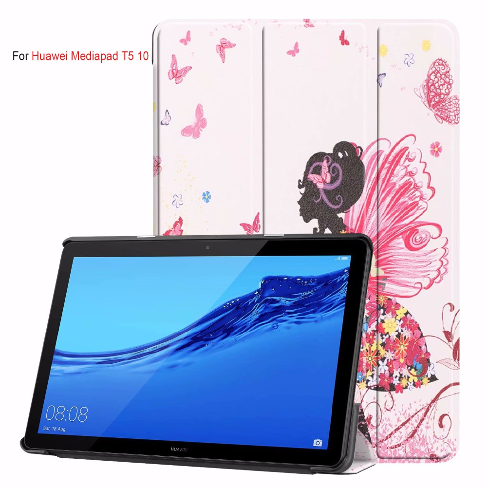 Colorful Print Pu Stand Case For Huawei Mediapad T5 10'' Tablet Case For Huawei Mediapad T5 10 AGS2-W09/L09/L03/W19 Cover