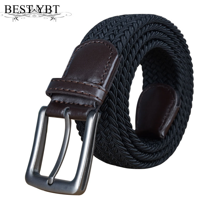 Best YBT Unisex Leather Braided Elastic   Belt   Stretch Cross Buckle Canvas   Belts   Army Tactical Waistband Men & Women Strap
