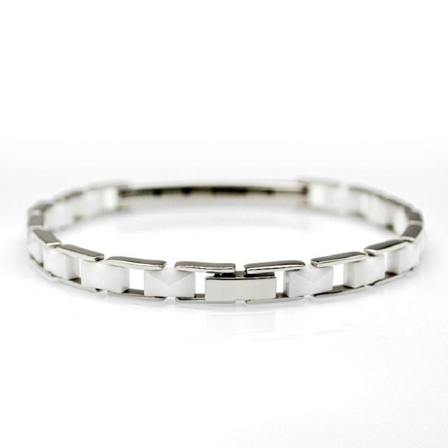 Atacado 5 pçs/lote amizade pulseiras Pulseira de Cerâmica Branca Para As Mulheres de Aço Inoxidável 316L Pulseiras Ligação 7.95 polegadas CE010BW