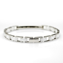 Wholesale 5pcs/lot 316L Stainless Steel friendship bracelets White Ceramic Bracelet For Women Link Bracelets 7.95inches CE010BW
