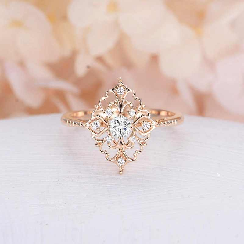 Double Fair Fashion Delicate Vintage Rose/White Gold Zircon Rivet Rings For Women Engagement New Jewelry HotSale KCR176M