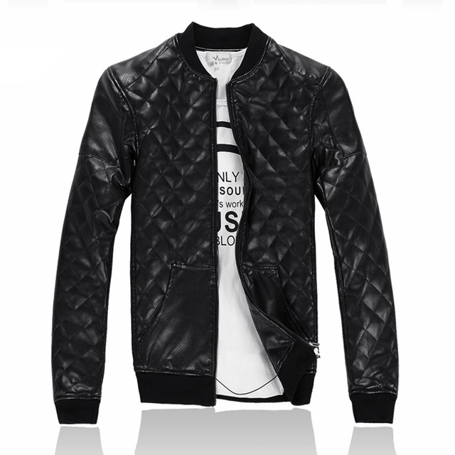 Winter Men's Cotton Padded Faux Leather Black Jacket Mandiran Collar Windbreaker Thicken Cotton Liner Keep Warm Coat Size M