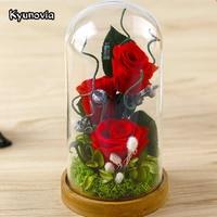 Kyunovia Valentine S Day Glass Cover Fresh Preserved Rose Flower Beautiful Mother Birthday Gift Wedding Home
