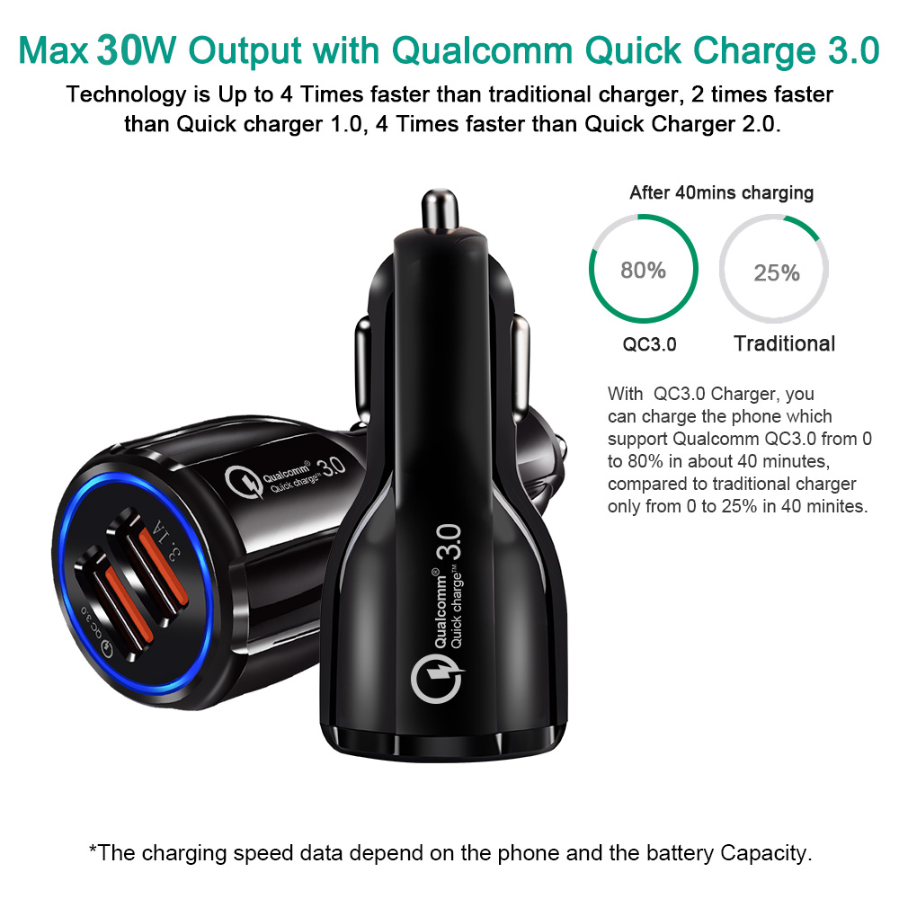 Car USB Charger Quick Charge 3 0 Mobile Phone Charger 2 Port USB Fast Car Charger for Samsung Xiaomi Ipad Sony Tablet Charger in Car Chargers from Cellphones Telecommunications