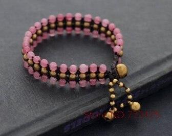 02d195fc3a6b Amor Rosa pulsera tejida hecha a mano piedra Brass beads bracelet con Brass  Bell Extensiones pulsera
