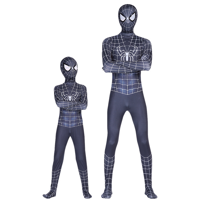 Adult Kids Black SpiderMan Into the Spider-Verse Miles Morales Cosplay Costume Zentai SpiderBoy Pattern Bodysuit Suit Jumpsuits