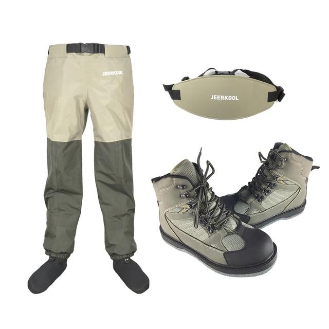Orijinal JEERKOOL sinek balıkçı pantolonu ayakkabı keçe taban ve bel pantolon kemer su geçirmez avcılık Suit tulum sığ yukarı botları