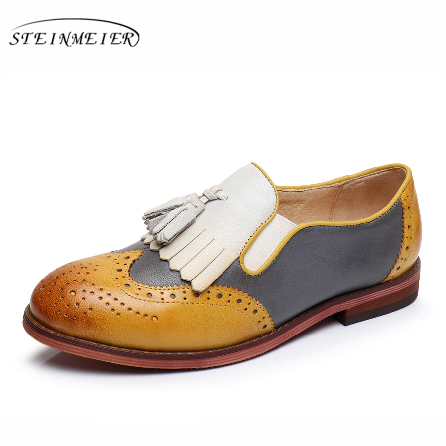 Здесь продается  Genuine sheepskin leather brogues yinzo lady flats tassel shoes handmade vintage oxford shoes for women 2018 yellow green  Обувь